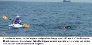 Attorney fulfills lifelong dream to swim 21 miles across Lake St. Clair
