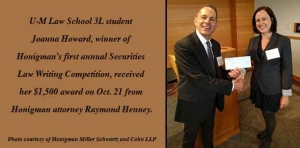 Securities star: MLaw student wins Honigman essay competition